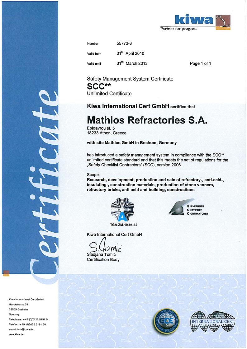 obklad, dlazby mathios certifikat kiwa2010